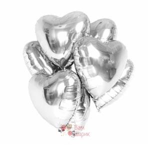 Фольгированные серебряные сердца