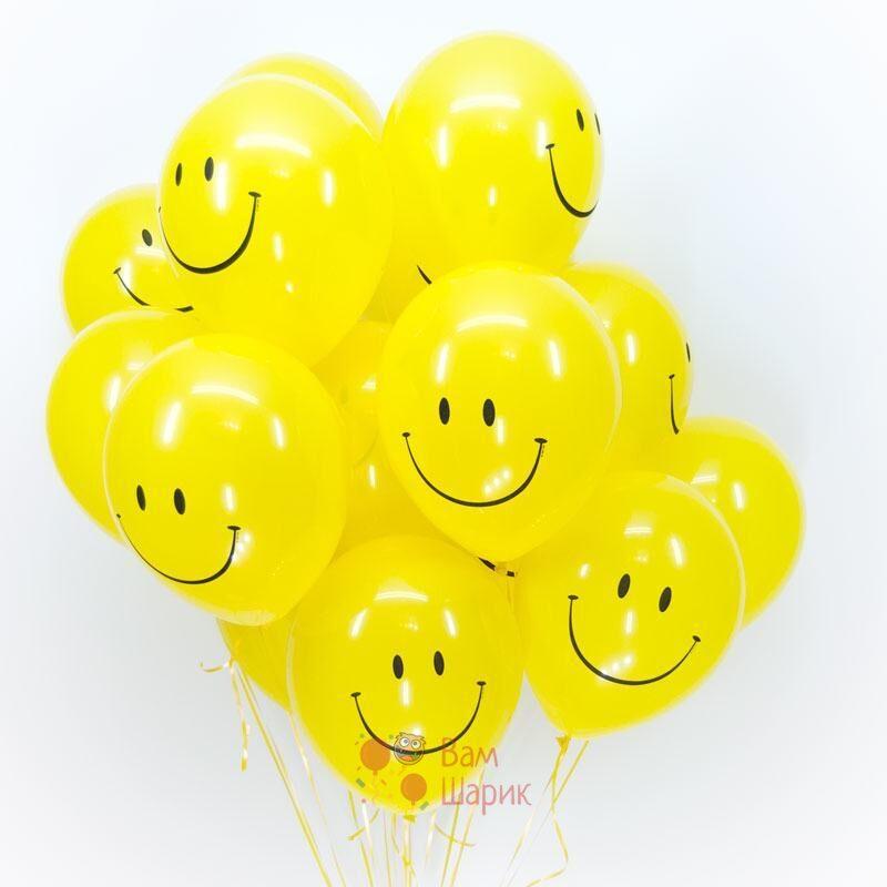 Облако желтых шаров смайликов