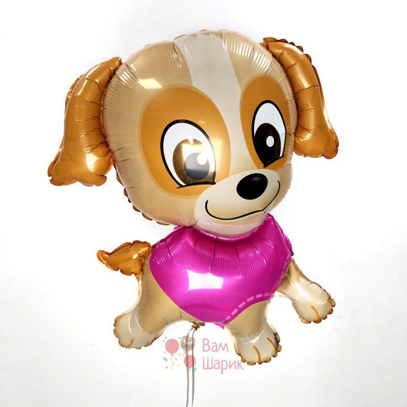 Фольгированная фигура собачка в розовом
