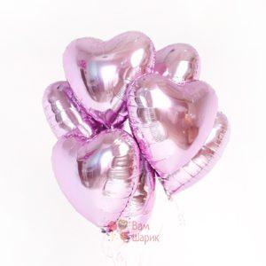 Фольгированные розовые сердца